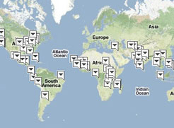 World map of the places we're involved
